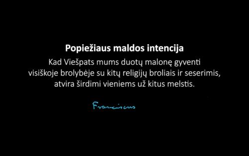 Popiežiaus maldos intencija sausio mėnesiui