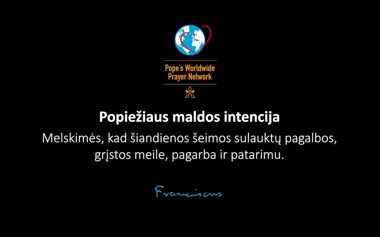 Popiežiaus maldos intencija liepos mėnesiui: už šeimas