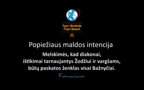 Popiežiaus maldos intencija gegužės mėnesiui: už diakonus